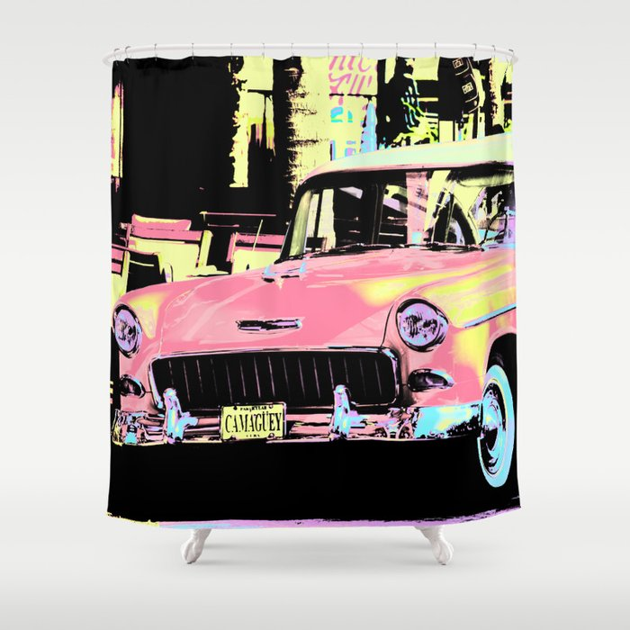 Cuban Classic Car Shower Curtain