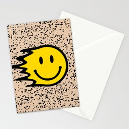 Smiley Face Slime on Leopard Print Background  Stationery Cards