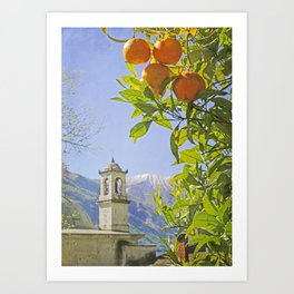 Oranges, Blue Sky, and Mountains in Northern Italy Art Print
