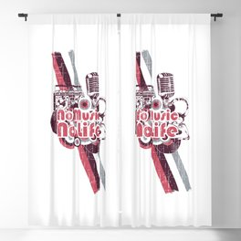 A microphone and grunges. No music no life Blackout Curtain