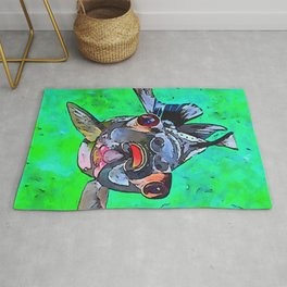 Cartoon Style Blackmoor Goldfish With Gaping Mouth Rug