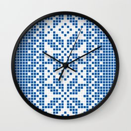Blue & White Ethnic Pattern Wall Clock