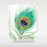 peacock feather Shower Curtains featuring Peacock Feather by Brazen Edwards