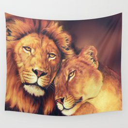 Lions Soulmates Wall Tapestry