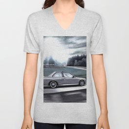 M3 CAR RIDING THROUGH THE FAMOUS NURBURGRING RACE TRACK AT DAY Unisex V-Neck