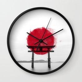 JAPANESE HINOMARU FLAG SIGNS Wall Clock