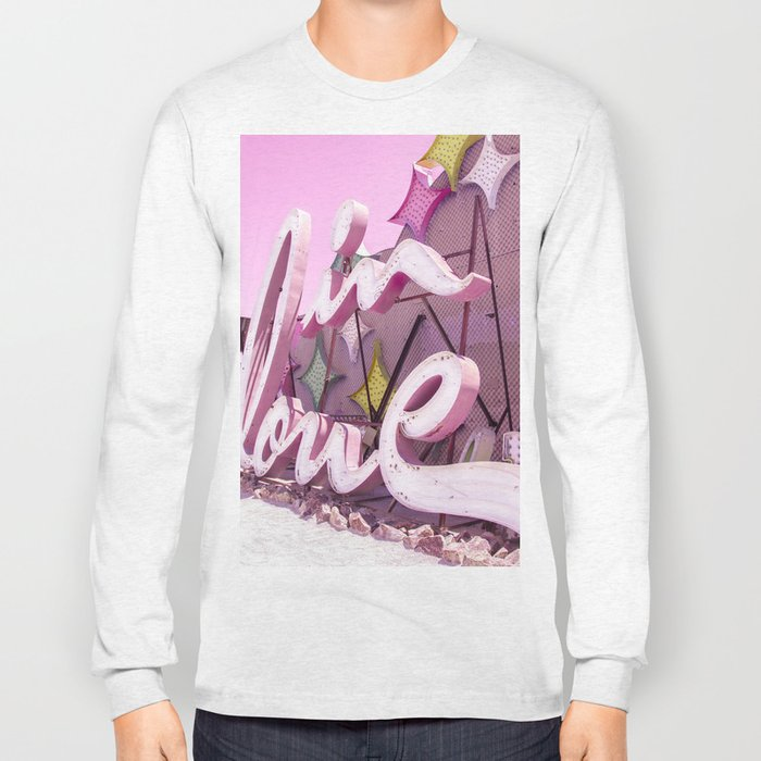 "Pink ""In Love"" Sign at the Neon Museum in Las Vegas, Nevada Long Sleeve T-shirt"