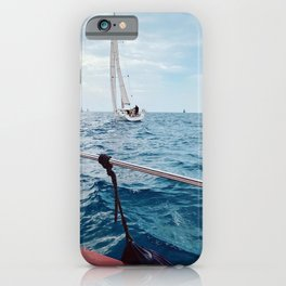 Sailing, sailing boat, sailboat, sea lovers, wanderlust, ligurian sea, sail boat iPhone Case