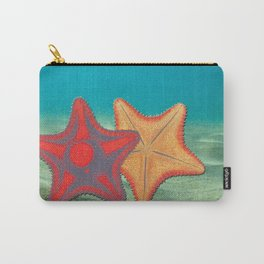 Vintage sketch of sea stars on blue Carry-All Pouch