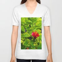hibiscus V-neck T-shirts featuring Hibiscus by Rachel Butler