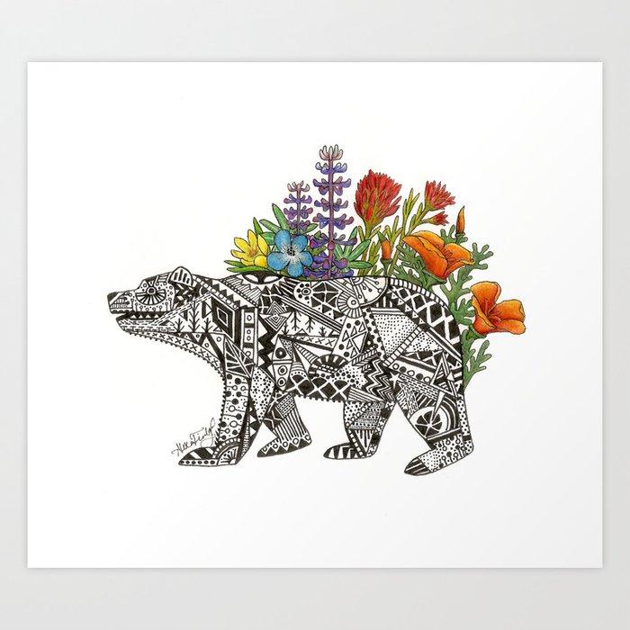 Grizzly Flora Art Print