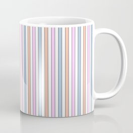 Mini Blue Pink Orange and White Pastel With Black Pin Stripes Coffee Mug