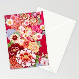 Red Floral Burst Stationery Cards
