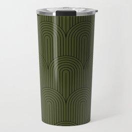 Art Deco Arch Pattern VIII - Dark Green Travel Mug