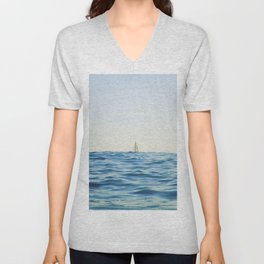 White Sailing Boat Sailing on the Horizon, Open Blue sea Unisex V-Neck