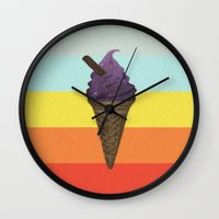 icecream Wall Clocks featuring Icecream by Zayth