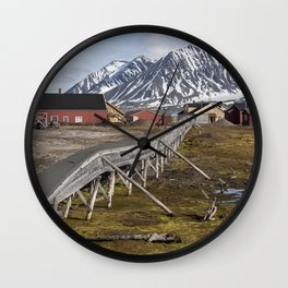 Svalbard buildings Wall Clock