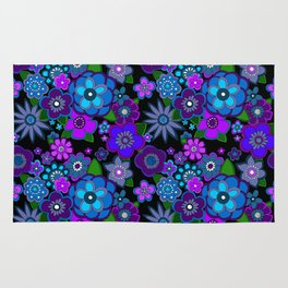 Yesterday People Super groovy Flowers dark base purple Rug