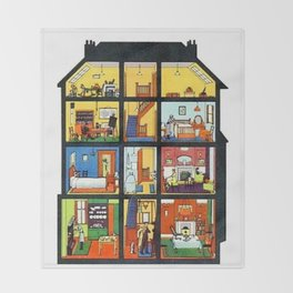 Vintage Doll House Throw Blanket