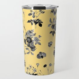 Black and White Floral on Yellow Travel Mug