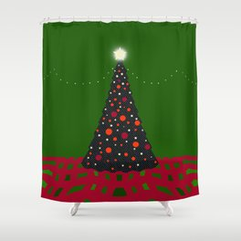Christmas Tree with Glowing Star Shower Curtain