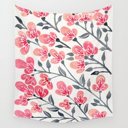 Cherry Blossoms – Pink & Black Palette Wall Tapestry
