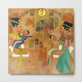 Akhenaten,Nefertiti and their Children Metal Print