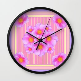 Decorative Wild Pink Roses Yellow Pattern Wall Clock