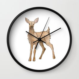 Cute Kawaii Brown Deer Watercolor Print Wall Clock