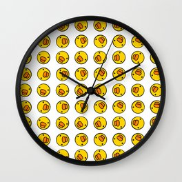 Little Ducky Heads Pattern Wall Clock