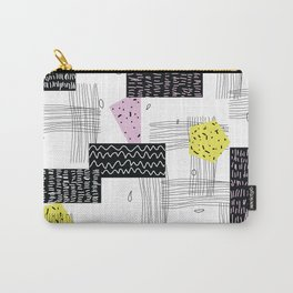 Geometric Black Yellow Pink Shapes Carry-All Pouch