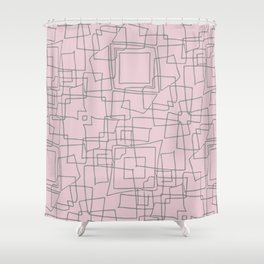 Decorative pink and grey abstract squares Shower Curtain