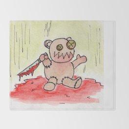 Evil Teddy Bear Throw Blanket