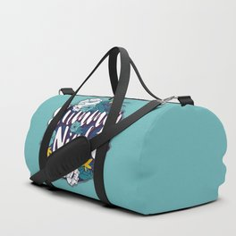 Summer nights typography banner round design in tropical flower frame 001 Duffle Bag