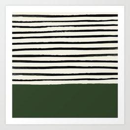 Forest Green x Stripes Art Print