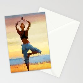 Yoga Pose. Silhouette of a woman on sunset background of blue sky Stationery Cards