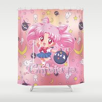 chibi Shower Curtains featuring Chibi Chibiusa by Neo Crystal Tokyo