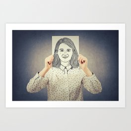 Covering face emotion Art Print