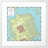 san francisco map Art Prints featuring San Francisco Topography Map by Urban Life Signs