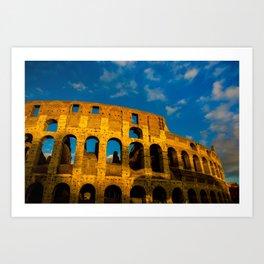Sunset Over The Roman Colosseum Art Print