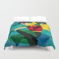 dc comics Duvet Covers featuring DC Comics Robin by Eric Dufresne