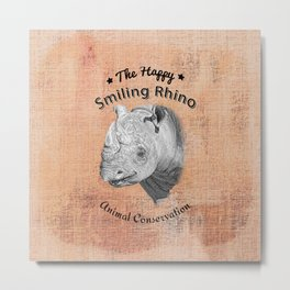 The Happy Smiling Rhino Animal Conservation Metal Print