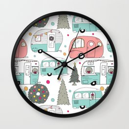 Retro Christmas Campers Wall Clock