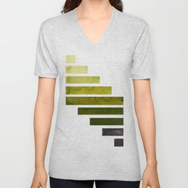 Olive Green Midcentury Modern Minimalist Staggered Stripes Rectangle Geometric Aztec Pattern Waterco Unisex V-Neck
