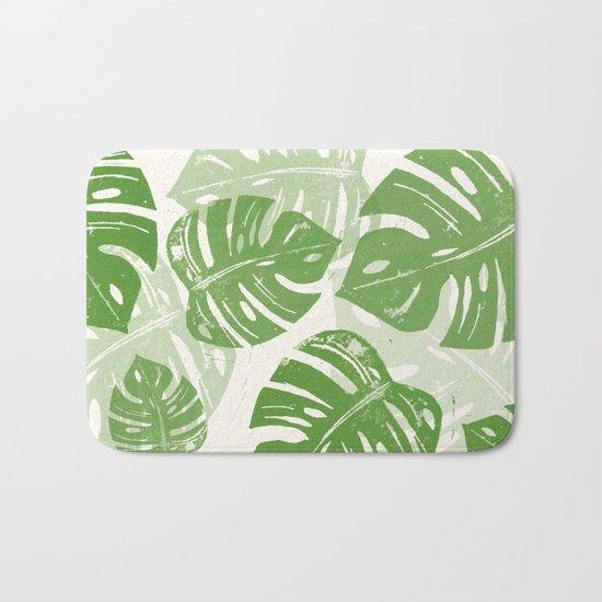 Linocut Monstera Leaf Pattern Bath Mat