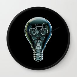 Dark Bicycle Bulb Wall Clock