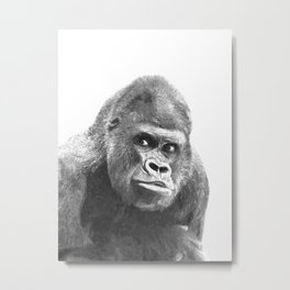 Black and White Gorilla Metal Print
