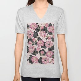 Girly Blush Pink and Black Watercolor Flowers Unisex V-Neck