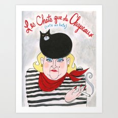 Cats as Hats - French Madam and Boo Boo Beret Art Print