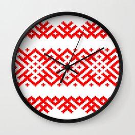 Ethno Slavic Pattern - Bogoroditsa - Symbol Horizontal - Large Scale - Red Ornament Wall Clock